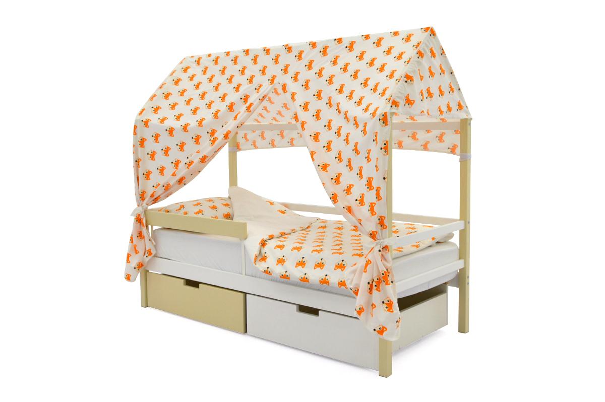 Кровать-домик «Svogen бежево-белый»