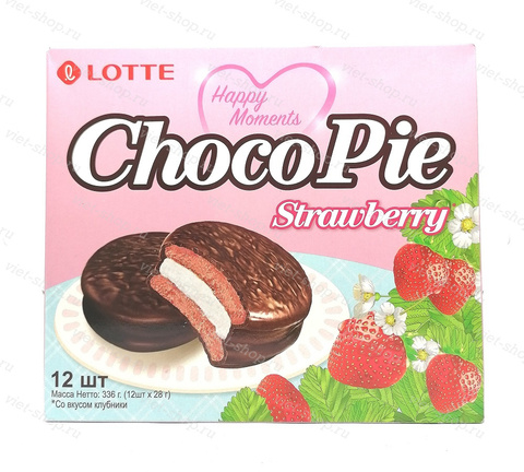Пирожное LOTTE Choco Pie strawberry, Корея, 336 гр.