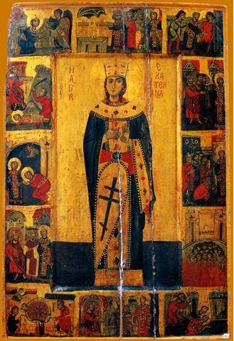 Икона святая Екатерина с житием на дереве на левкасе мастерская Иконный Дом