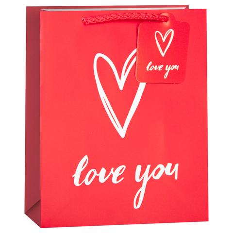 Пакет подарочный, Я Люблю Тебя (сердце), Красный, 42*32*12 см