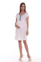 Мамаландия. Сорочка для беременных и кормящих с кнопками короткий рукав, звезды/молочный вид 1