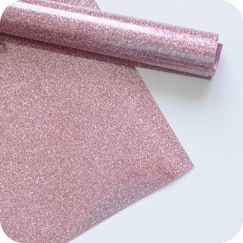 Термотрансферная пленка с глиттером, цвет розовое золото, размер отреза 25*25см