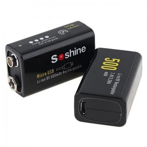 Аккумулятор SoShine 6F22/1bl 500mAh Li-Ion зарядка от microUSB