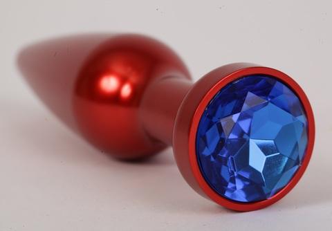 Анальная пробка металл 11,2х2,9см красная с синим стразом размер-L 47199-1-MM