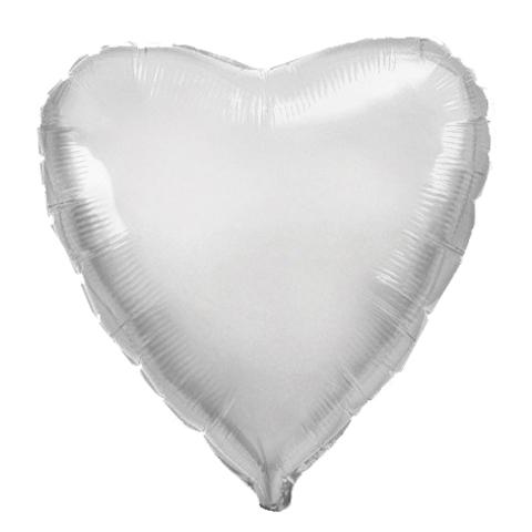 Шар-сердце серебро, 45 см