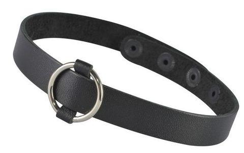 Черный кожаный чокер с колечком