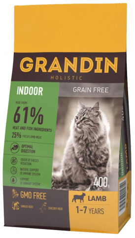 GRANDIN Indoor корм для домашних кошек в возрасте от 1 года до 7 лет, с ягненком 1,5 кг.