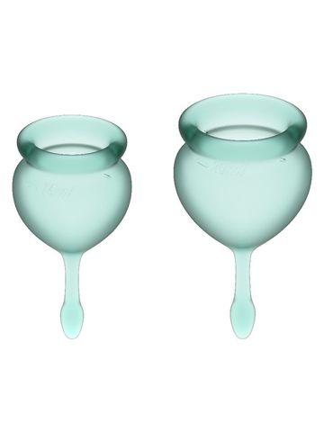 Feel Good Menstrual Cup Dark Green Набор менструальных чаш, 2шт, 15 и 20 мл с хвостиком-капелькой