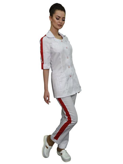 Медицинский костюм с красной отделкой белого цвета