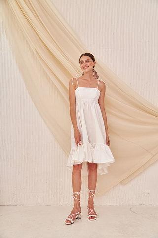 Сарафан-топ с асимметричной юбкой белого цвета