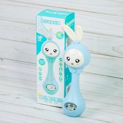 Музыкальный зайка погремушка для малышей, прорезыватель для зубов, голубой