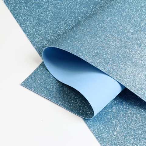 Светло голубой глиттерный фоамиран 1,8мм №3823 лист 20*30см