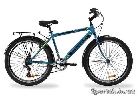 Сине-черно-желтый городской мужской велосипед Discovery Prestige Man 2020