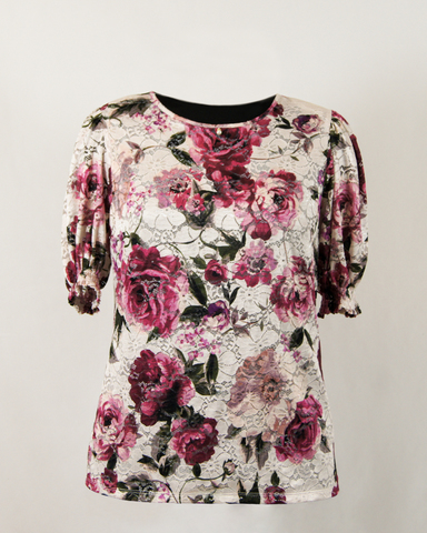 Блузка Laura Canorra 2159 гипюр цветы к/р