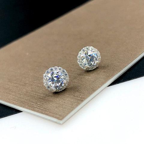 Серьги-пусет круглый циркон в круглой розетке 10мм белый (серебро 925)