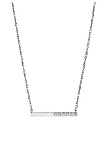 Колье из серебра с подвеской в форме планки с фианитами