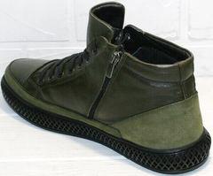 Зимние ботинки мужские кожаные термо Luciano Bellini BC2803 TL Khaki.