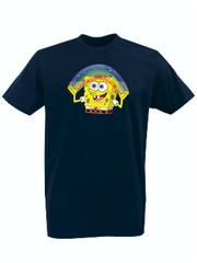 Футболка с принтом мультфильма Губка Боб Квадратные Штаны/ Спанч Боб (SpongeBob SquarePants) темно-синяя 007