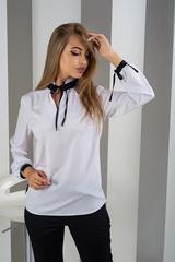 Луиза. Стильная белая блуза с завязками. Черный