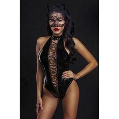Лаковое боди с маской сексуальной кошечки