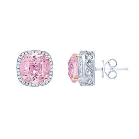 4736- Пусеты квадратные из серебра с розовыми цирконами