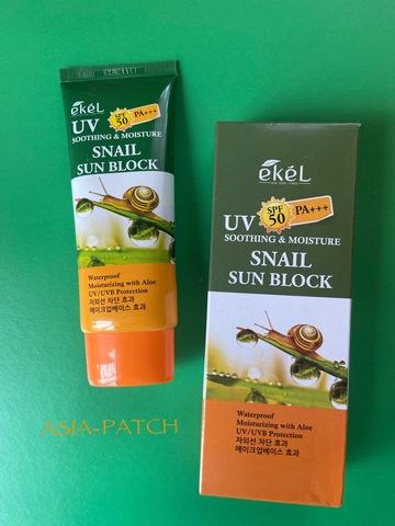 Распродано - Ekel Смягчающий солнцезащитный крем для лица и тела с муцином улитки Soothing and Moisture Snail Sun Block SPF 50/PA+++ (70 мл)