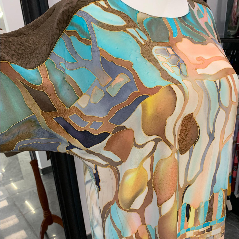 Шелковая блузка батик Апельсины в бирюзе