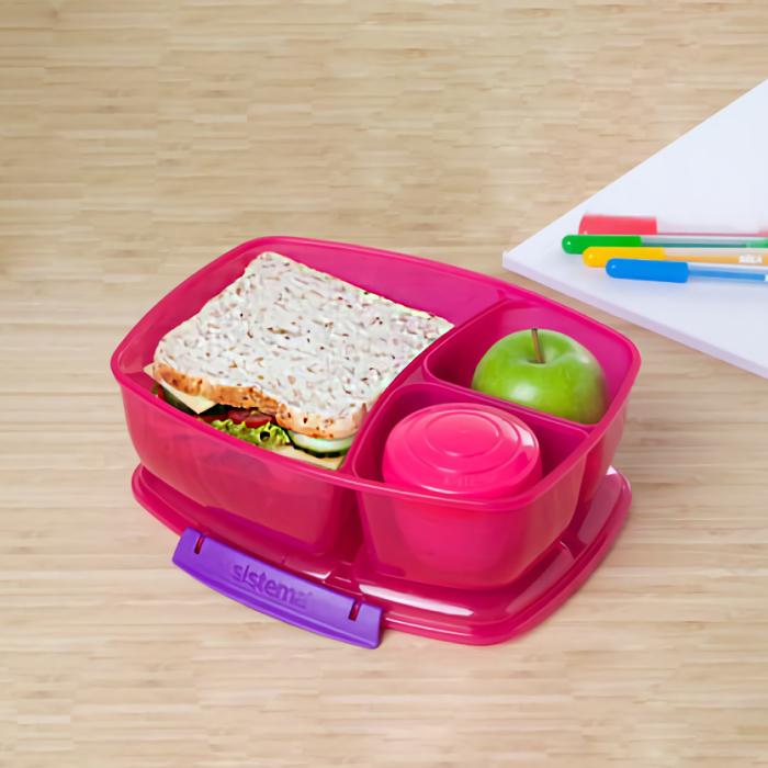 """Ланч-бокс с баночкой Sistema """"Lunch"""": 3 секции, 2 л, цвет Розовый"""
