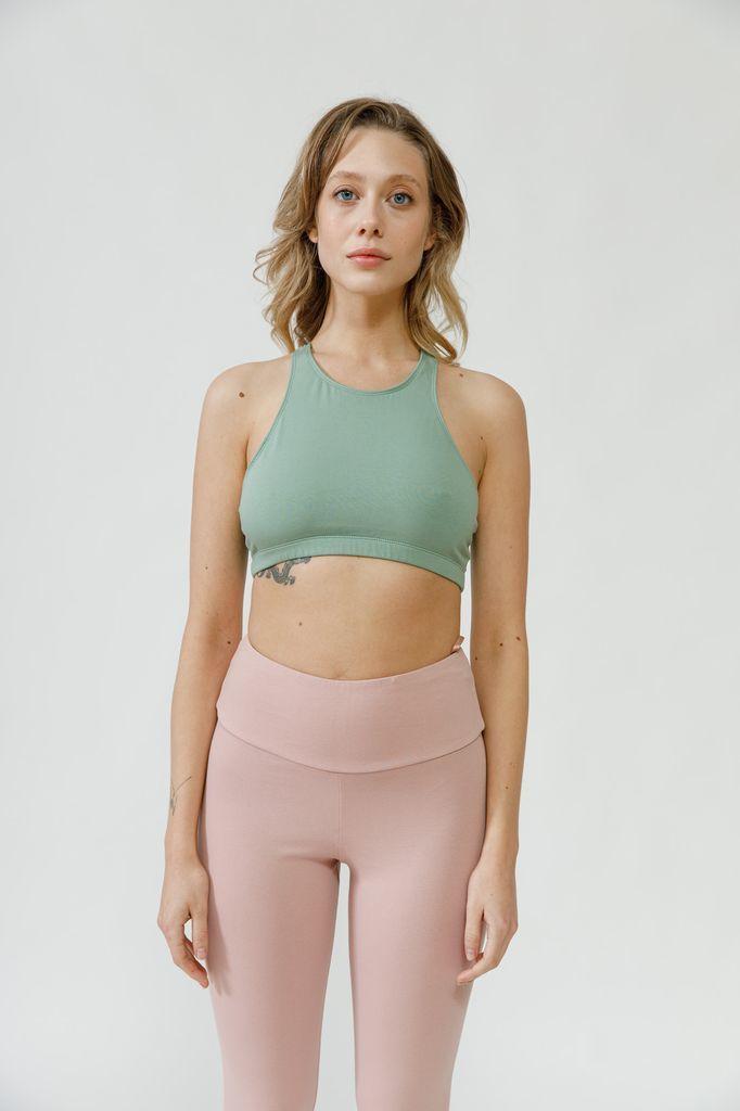 Топ для йоги с перекрестами мятный