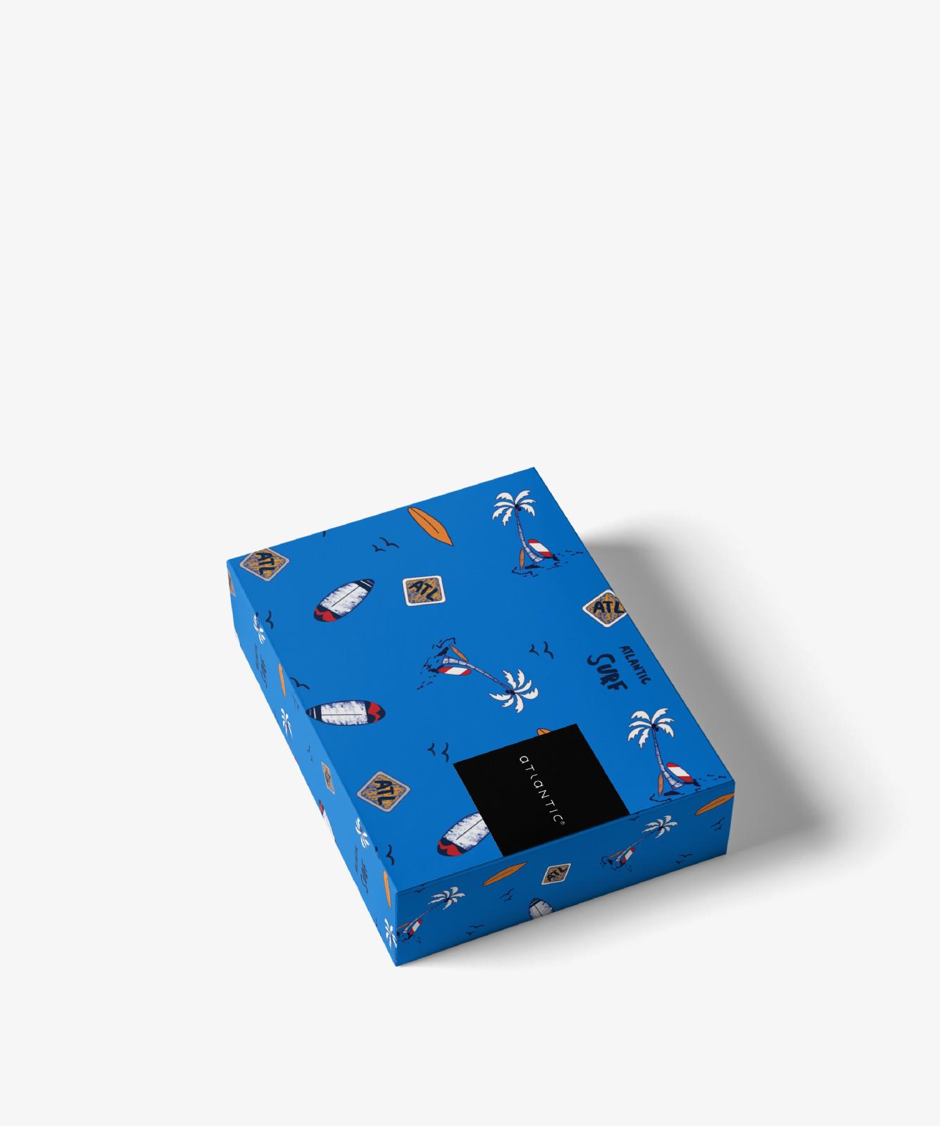 Мужские трусы шорты Atlantic, набор из 2 шт., хлопок, темно-синие + голубые, 2GMH-003