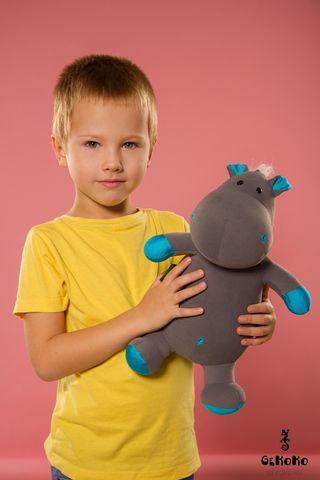 Подушка-игрушка «Бегемот малыш Няша», голубой-2