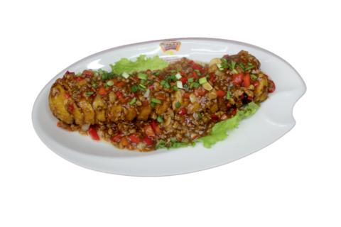 9--9Дольки баклажана с мясом под соусом鲍汁乌龙茄子695р400гр