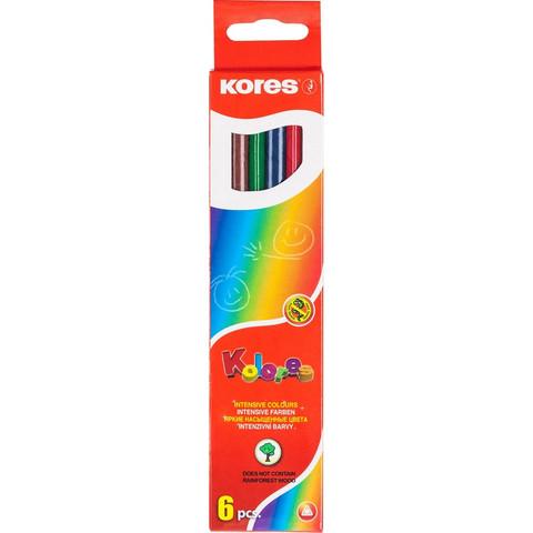 Карандаши цветные Kores 6 цветов шестигранные