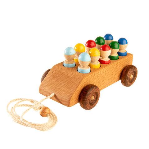 Деревянная машинка с 10 цветными пассажирами