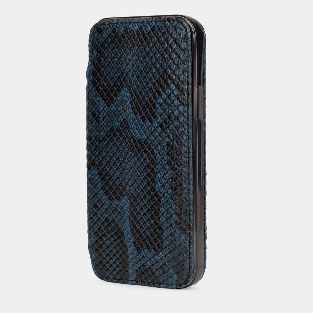 Чехол Benoit для iPhone 12/12Pro из натуральной кожи питона, синего цвета