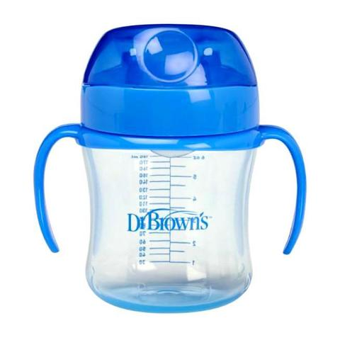 Чашка-непроливайка 180 мл, с мягким  носиком ручками и одкидывающейся крышкой 6+ мес,смешанные цвета (стандарт)