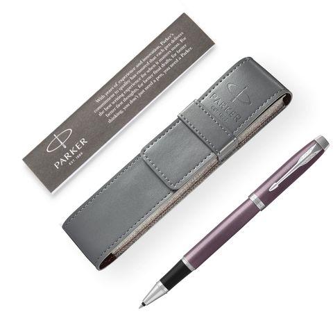 Подарочный набор: Чехол под ручку и Ручка-роллер Parker IM Metal, цвет: розовый123