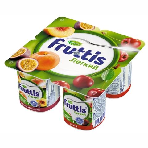 Йогурт FRUTTIS Легкий Персик Маракуйя Вишня 0,1% 110 г Campina РОССИЯ