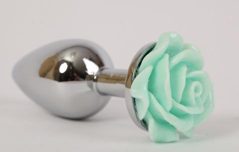 Анальная пробка металл 2,8х7,6 с розой зеленая  47186-MM