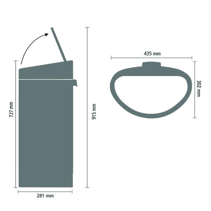 Мусорный бак Touch Bin New (40 л), Черный матовый, крышка стальная матовая, арт. 114847 - фото 1