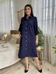 Надин. Платье-рубашка для всех типов фигур. Синий