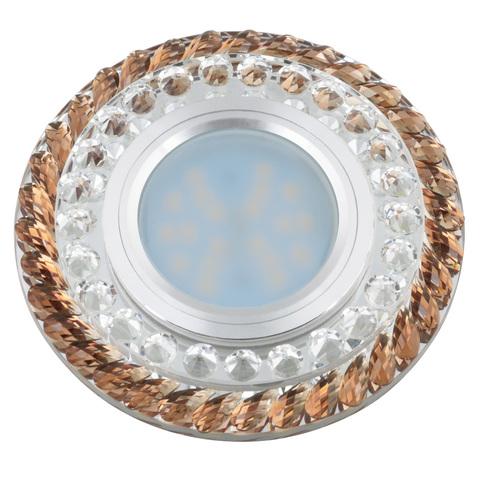 DLS-L132 GU5.3 CHROME/BROWN Светильник декоративный встраиваемый, серия Luciole. Без лампы, цоколь GU5.3. Доп. светодиодная подсветка 3Вт. Металл/стекло. Хром/коричневый. ТМ Fametto