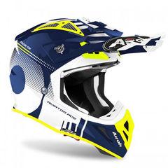 Кроссовый шлем Airoh Aviator Ace Белый-Синий-Кислотный M (57-58)
