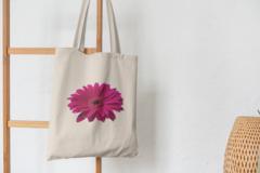Сумка-шоппер с принтом Цветы (Герберы) бежевая 002