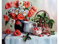 Картина раскраска по номерам 40x50 Натюрморт с клубникой
