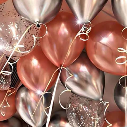 25 шаров 36 см розовое золото, хром серебро, конфетти