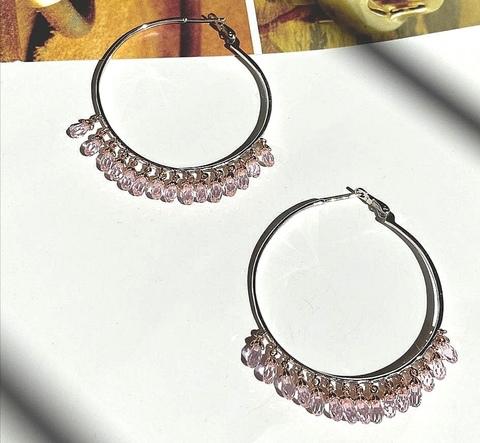 Серьги-кольца Drop из серебра с розовыми цирконами