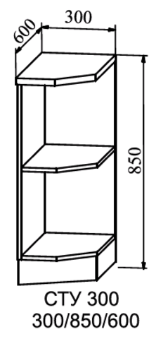 Кухня Монако шкаф нижний полка угловая 850*300