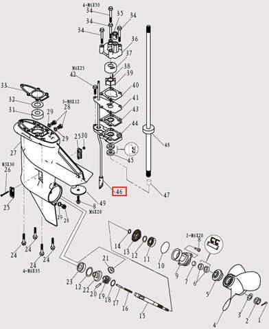 Шток п-п для лодочного мотора F9.8 Sea-PRO (12-46)