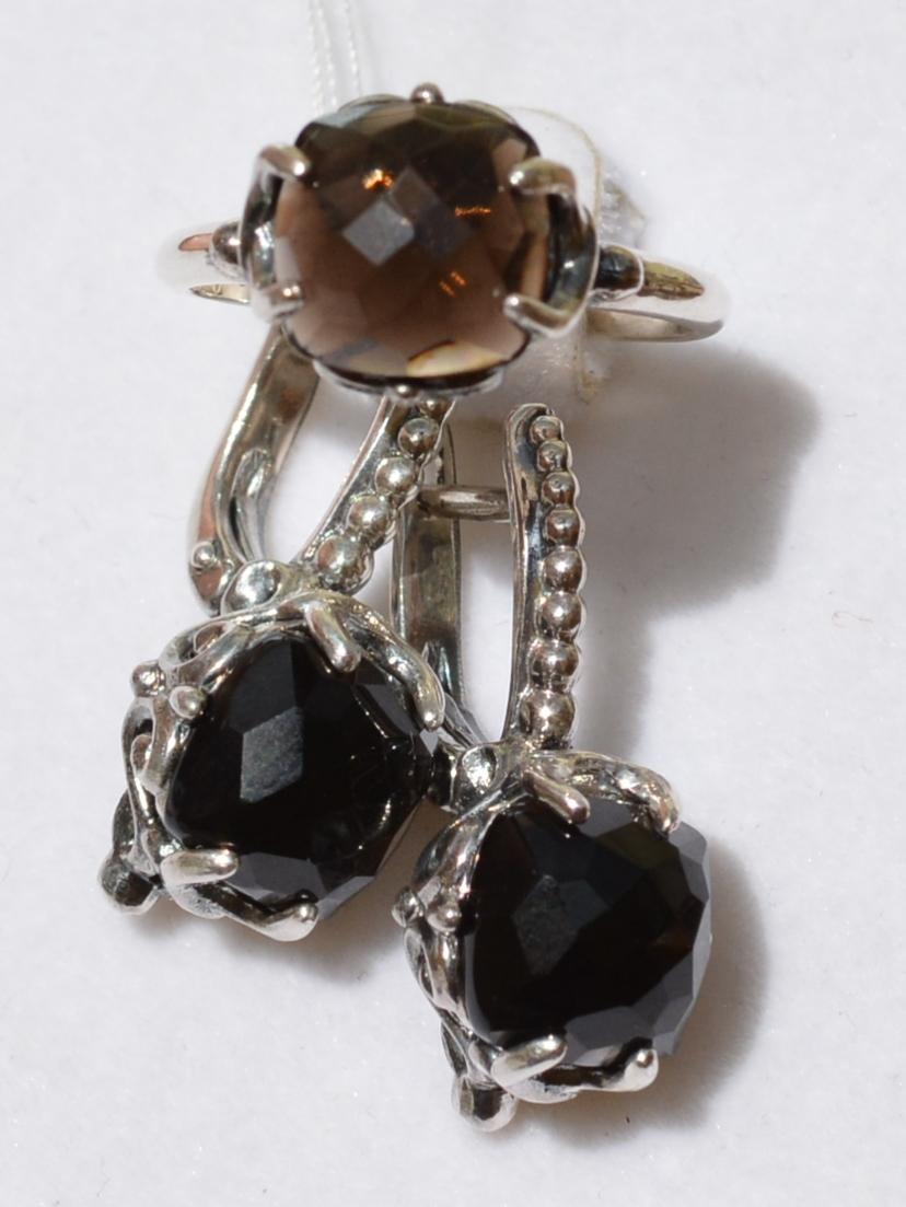 Кира (кольцо + серьги из серебра)